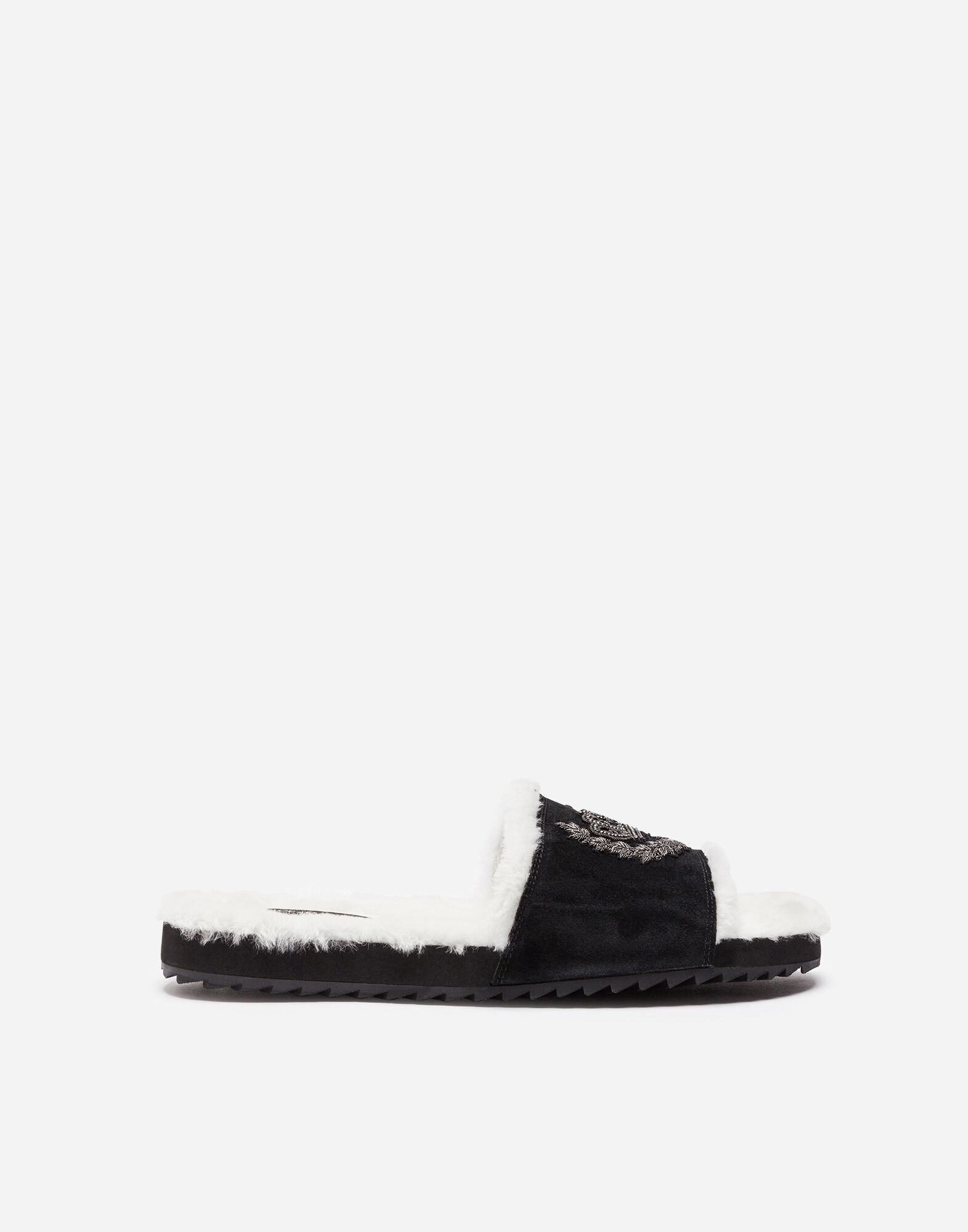 RUBBER SANDALS WITH SUEDE AND SHEEPSKIN