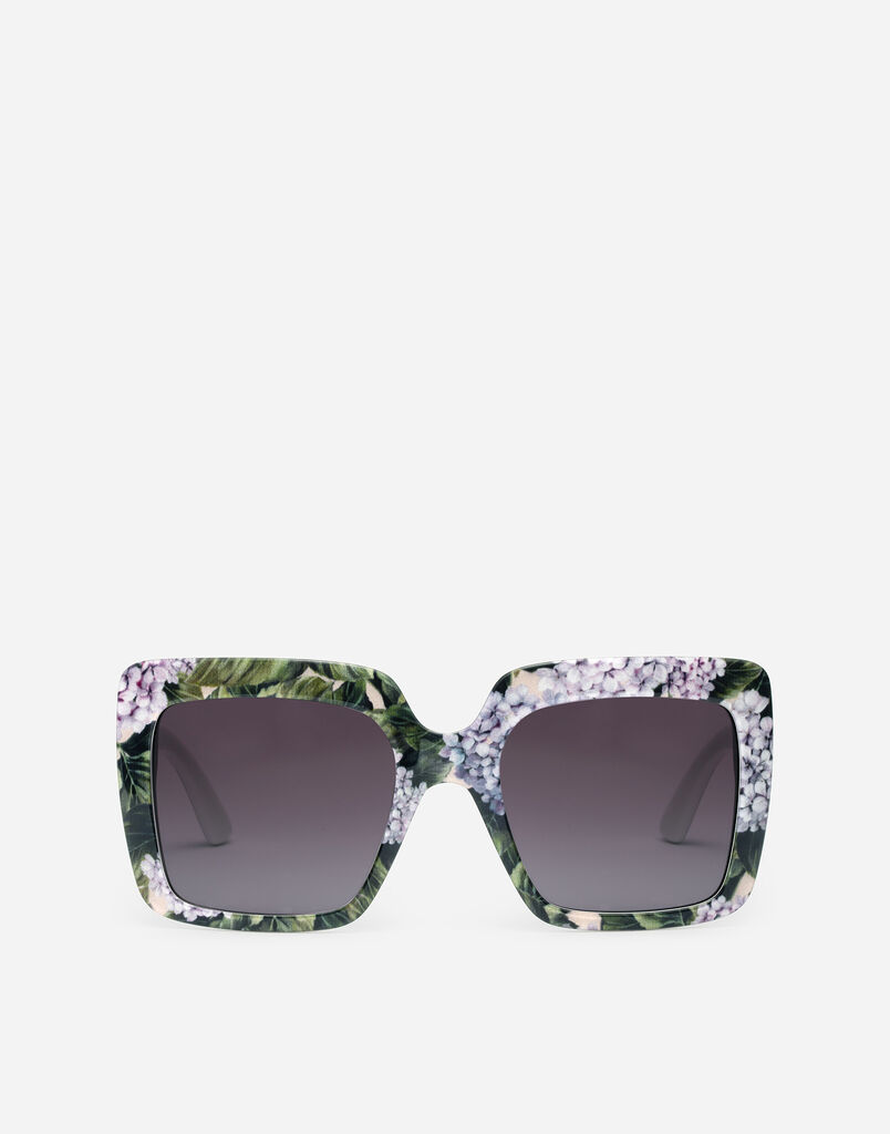 SQUARE SUNGLASSES WITH HYDRANGEA EMBELLISHMENT