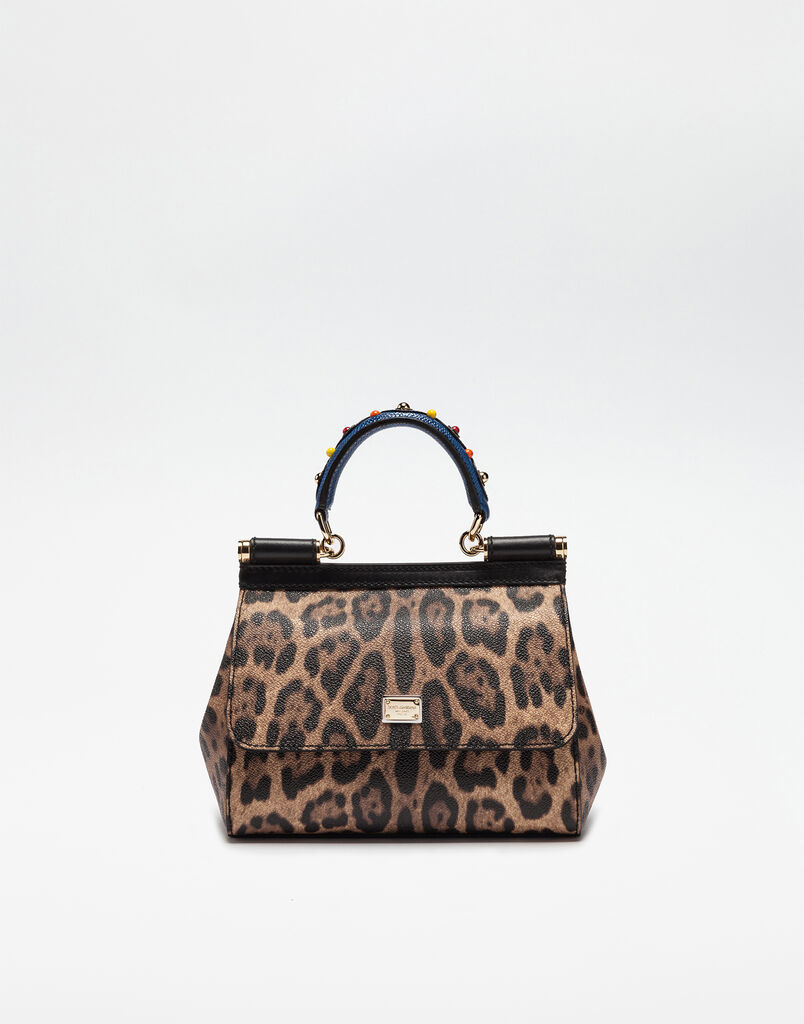 SMALL SICILY BAG IN LEAOPARD TEXTURED FABRIC WITH EMBELLISHED HANDLE