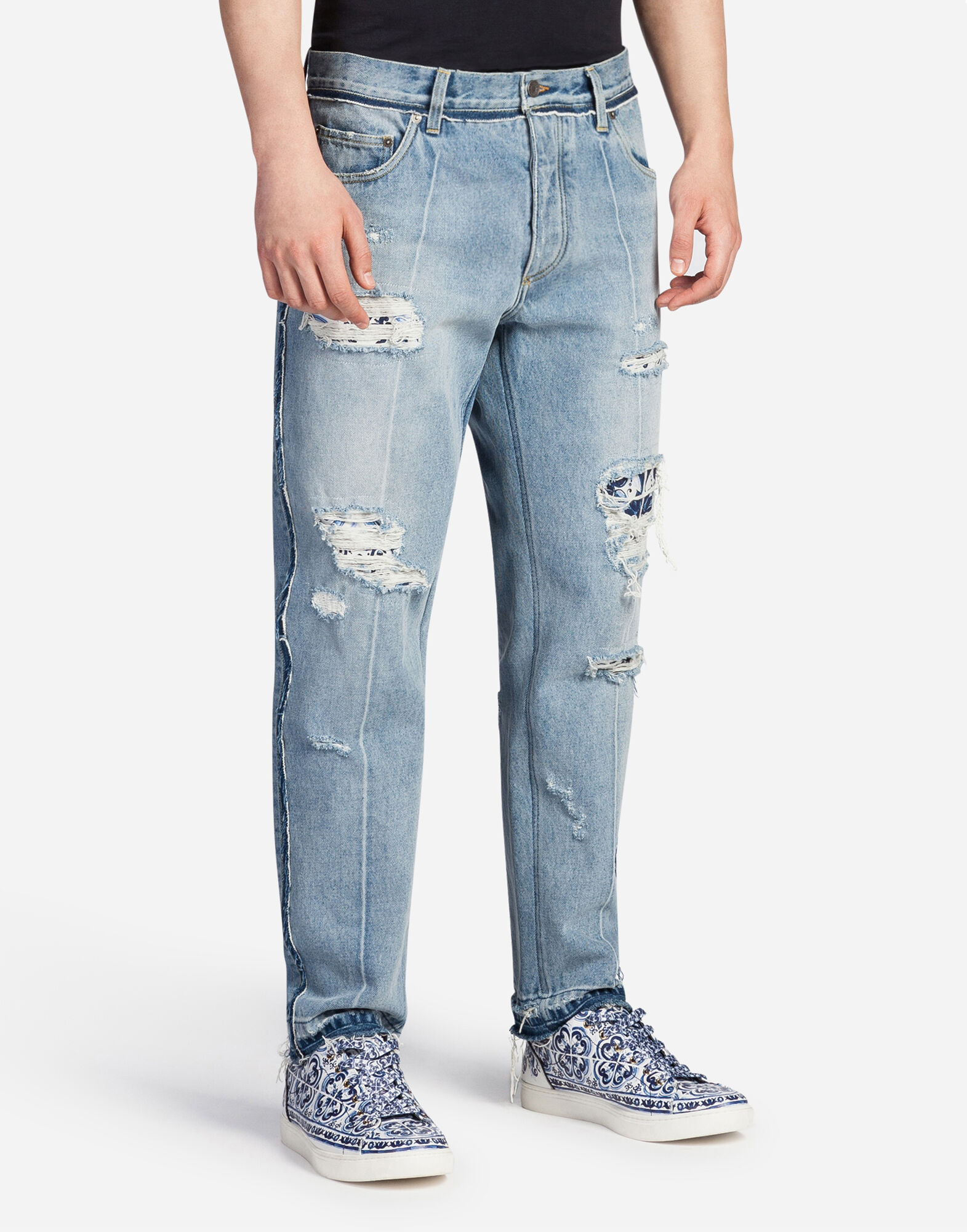 OVERSIZED FIT JEANS WITH TEARS AND ABRASIONS