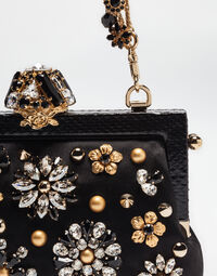 VANDA SATIN CLUTCH WITH JEWEL APPLICATIONS