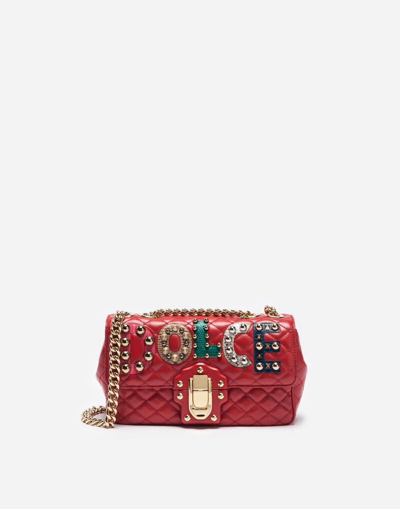 LEATHER LUCIA SHOULDER BAG WITH PATCH