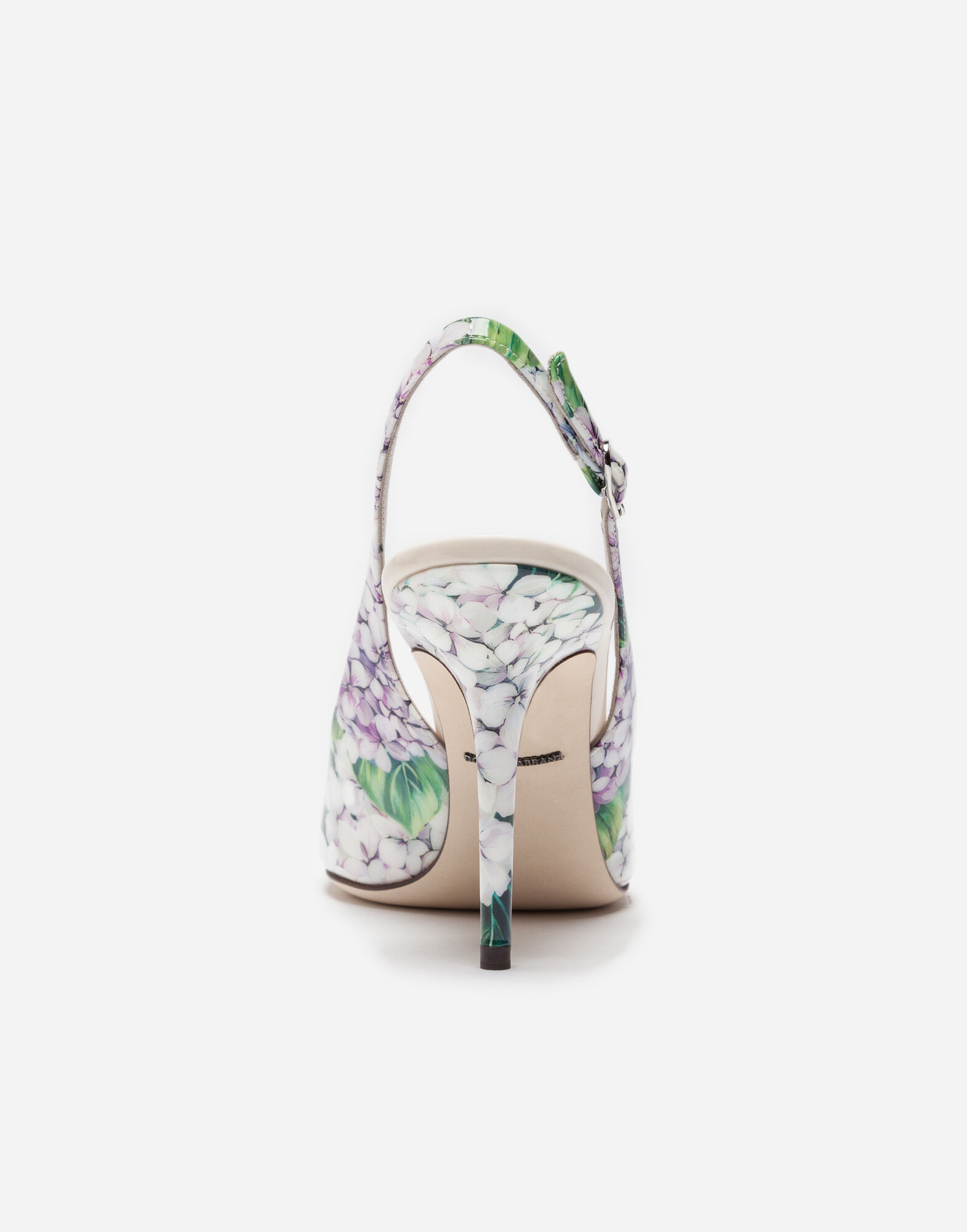 PRINTED VARNISH SLINGBACK PUMPS
