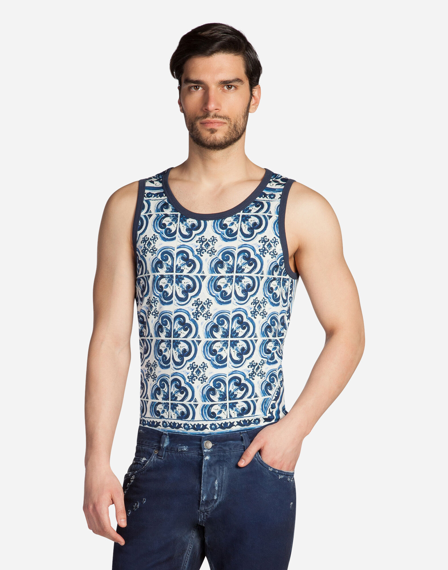 SLEEVELESS T-SHIRT IN PRINTED COTTON