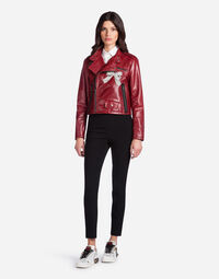 LEATHER JACKET WITH EMBROIDERY