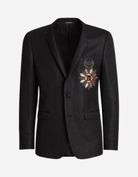 TWO-PIECE LUREX JACQUARD SUIT WITH PATCH