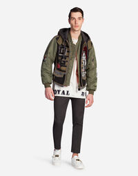 PATCHWORK BOMBER JACKET IN A MIX OF MATERIALS