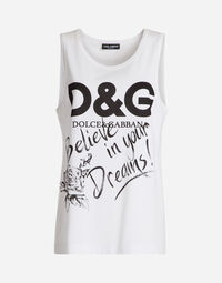 SLEEVELESS PRINTED COTTON T-SHIRT