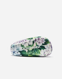 PRINTED SILK BALLET FLATS WITH APPLIQUÉ DETAILS