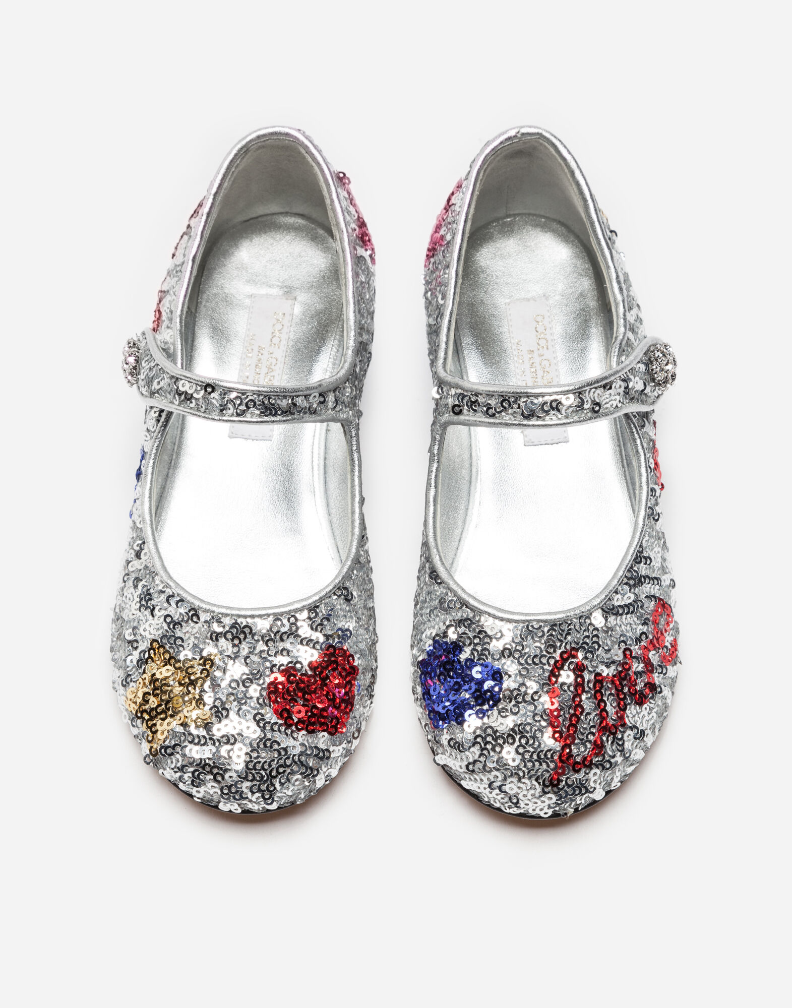 LEATHER BALLET FLATS WITH SEQUIN EMBROIDERY