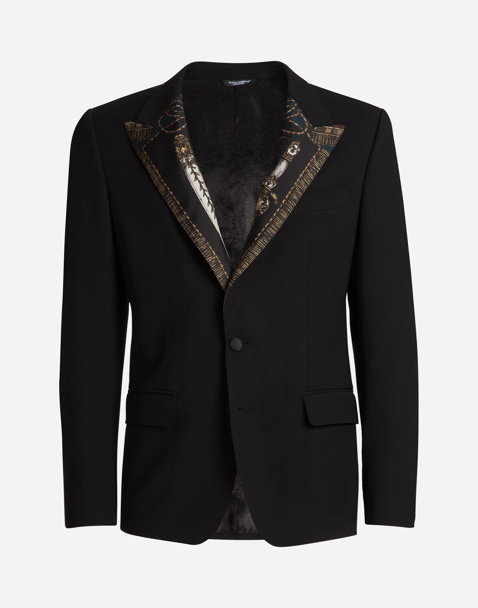 WOOL JACKET WITH SILK LAPELS