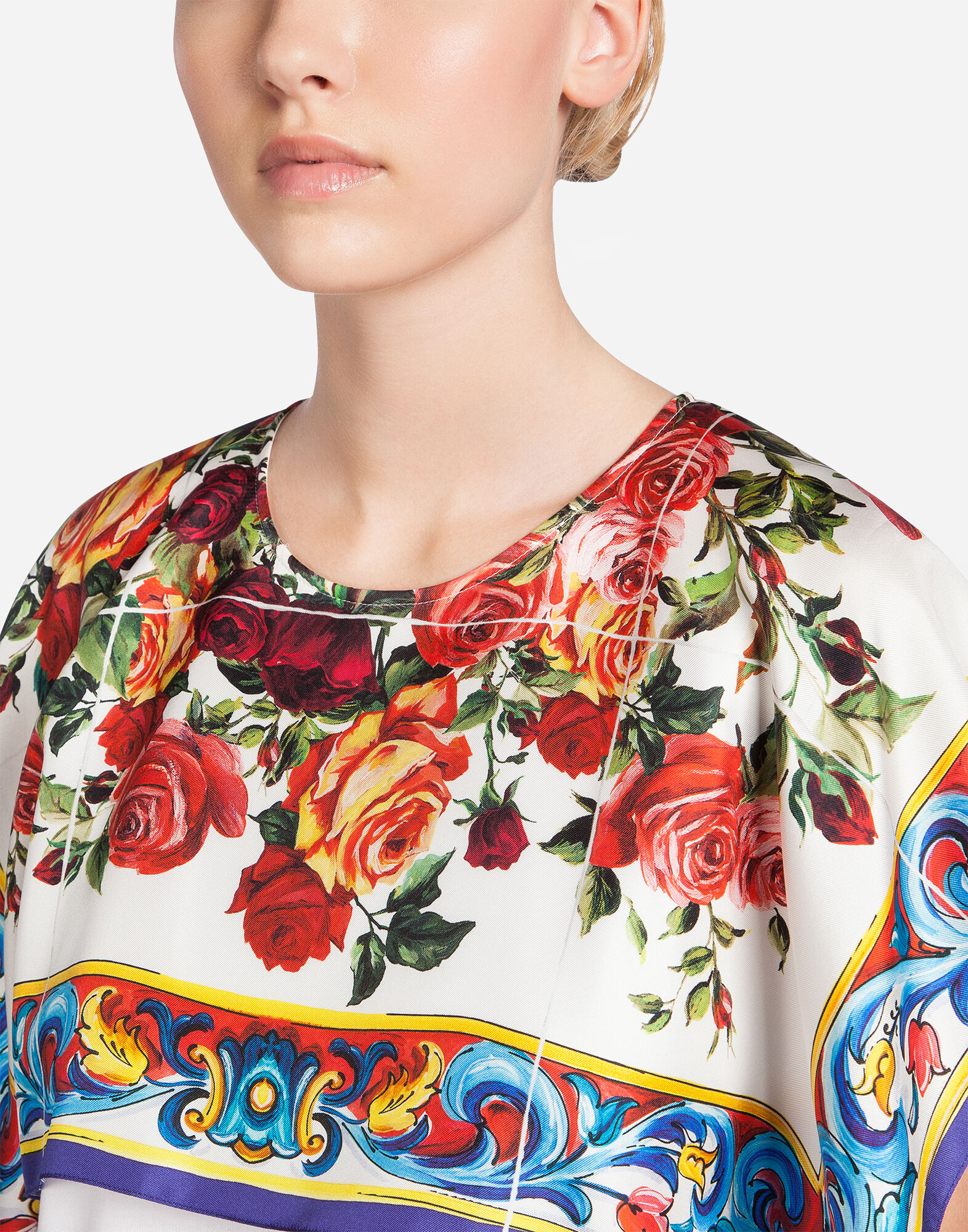 COTTON T-SHIRT WITH SILK PANNEL