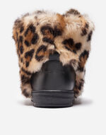 ANKLE BOOTS IN LEATHER AND FAUX FUR