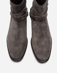 SUEDE ANKLE BOOTS WITH BUCKLES