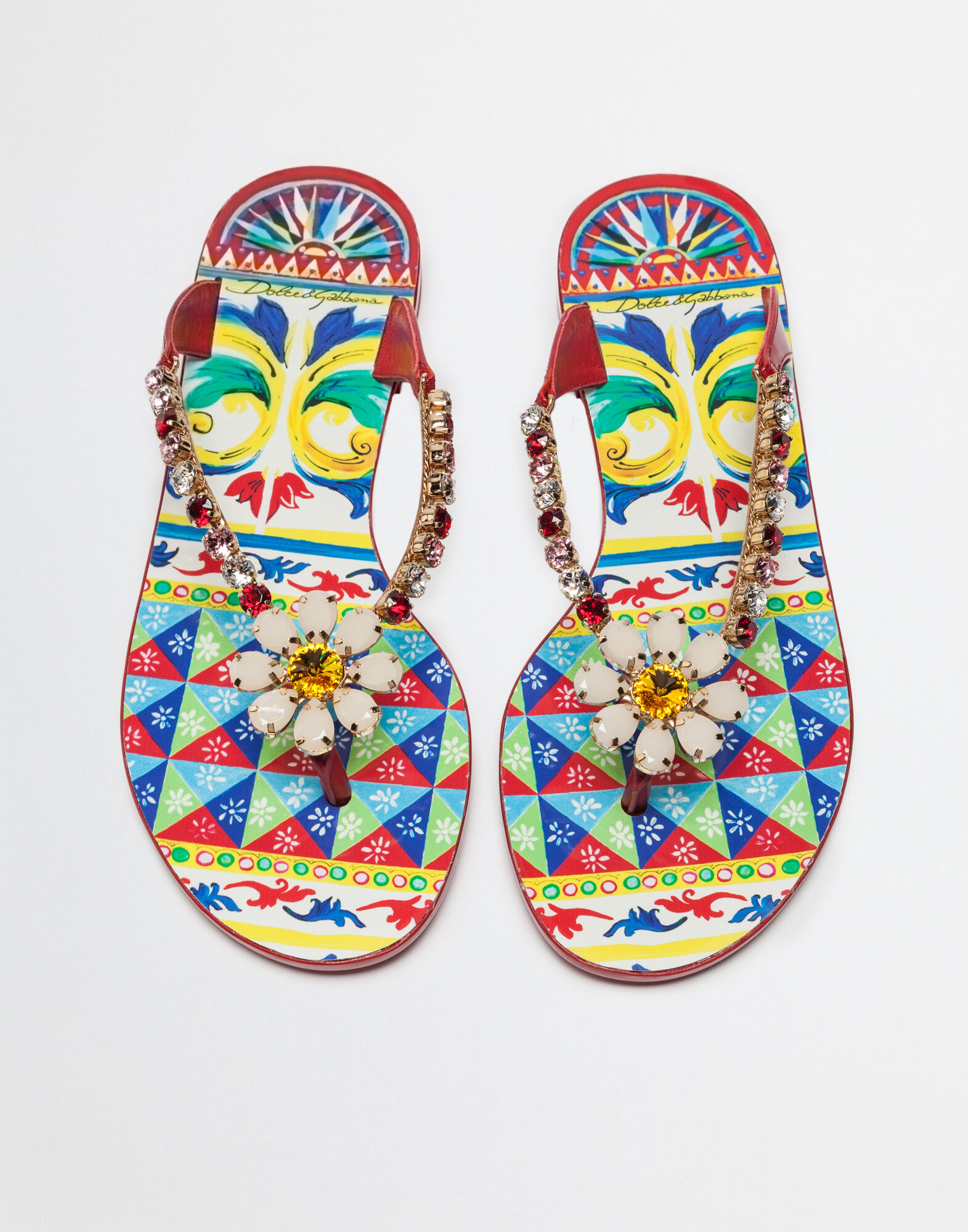 THONG SANDAL IN PRINTED RUBBER WITH CRYSTALS