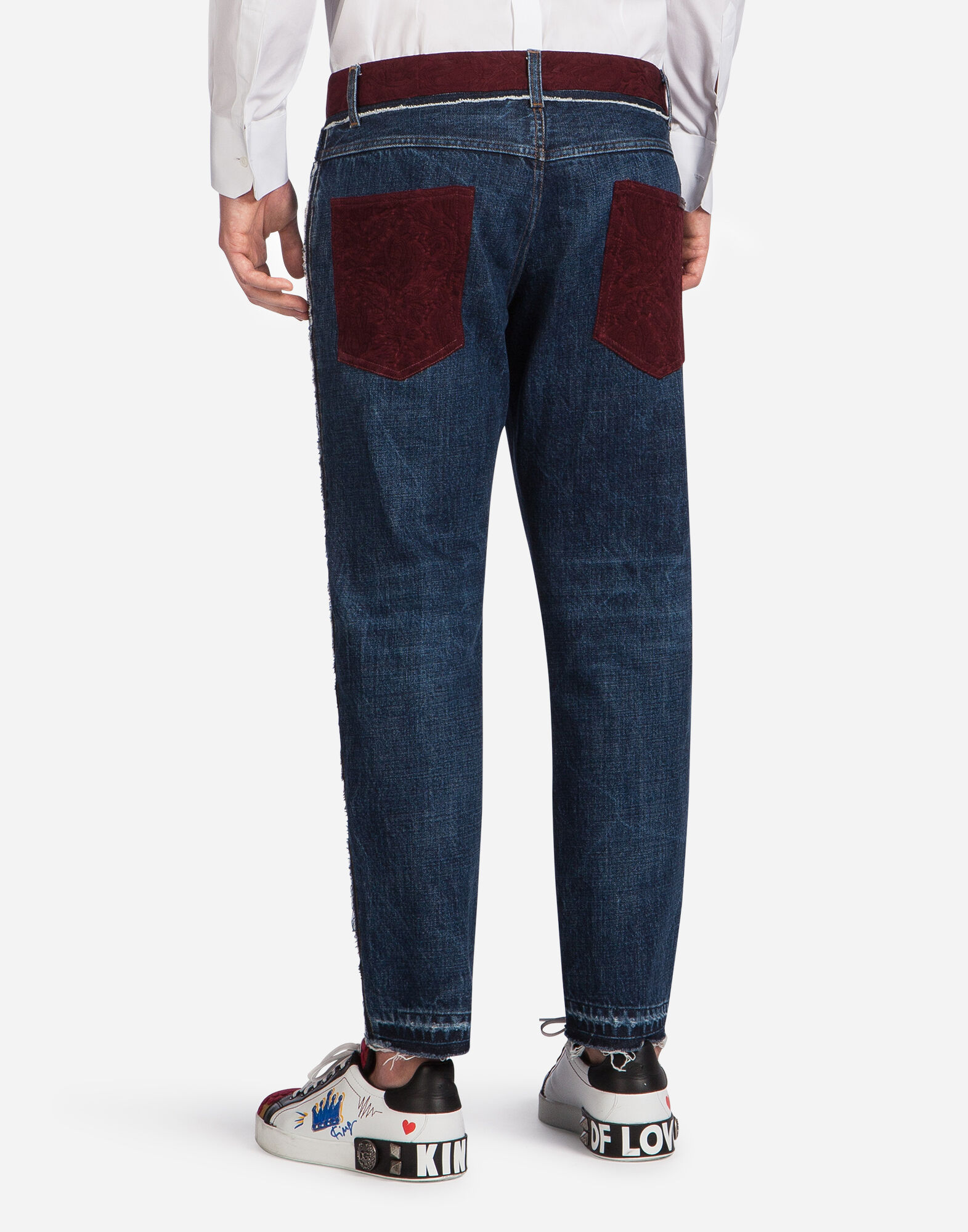 CLASSIC FIT JEANS WITH JACQUARD DETAIL