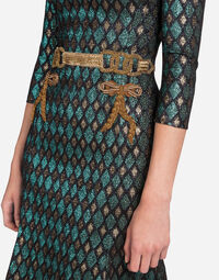 LUREX JACQUARD DRESS WITH EMBROIDERY