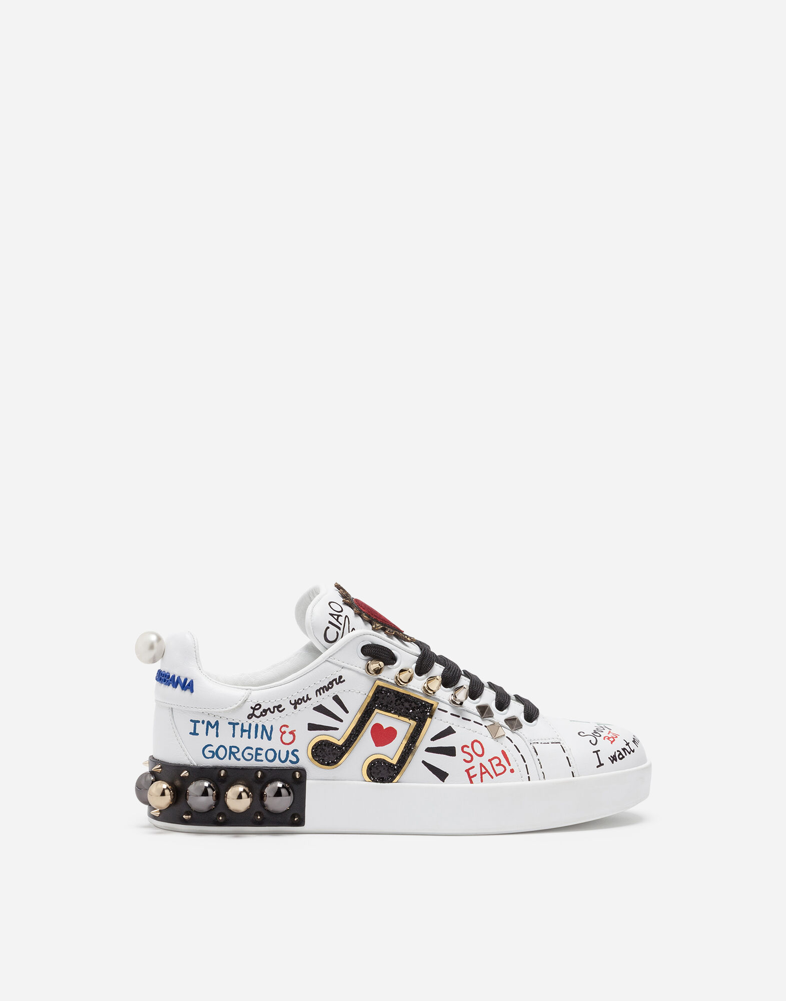 PRINTED LEATHER SNEAKERS WITH APPLIQUÉ