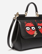 MEDIUM LEATHER SICILY BAG WITH PATCHES OF THE DESIGNERS