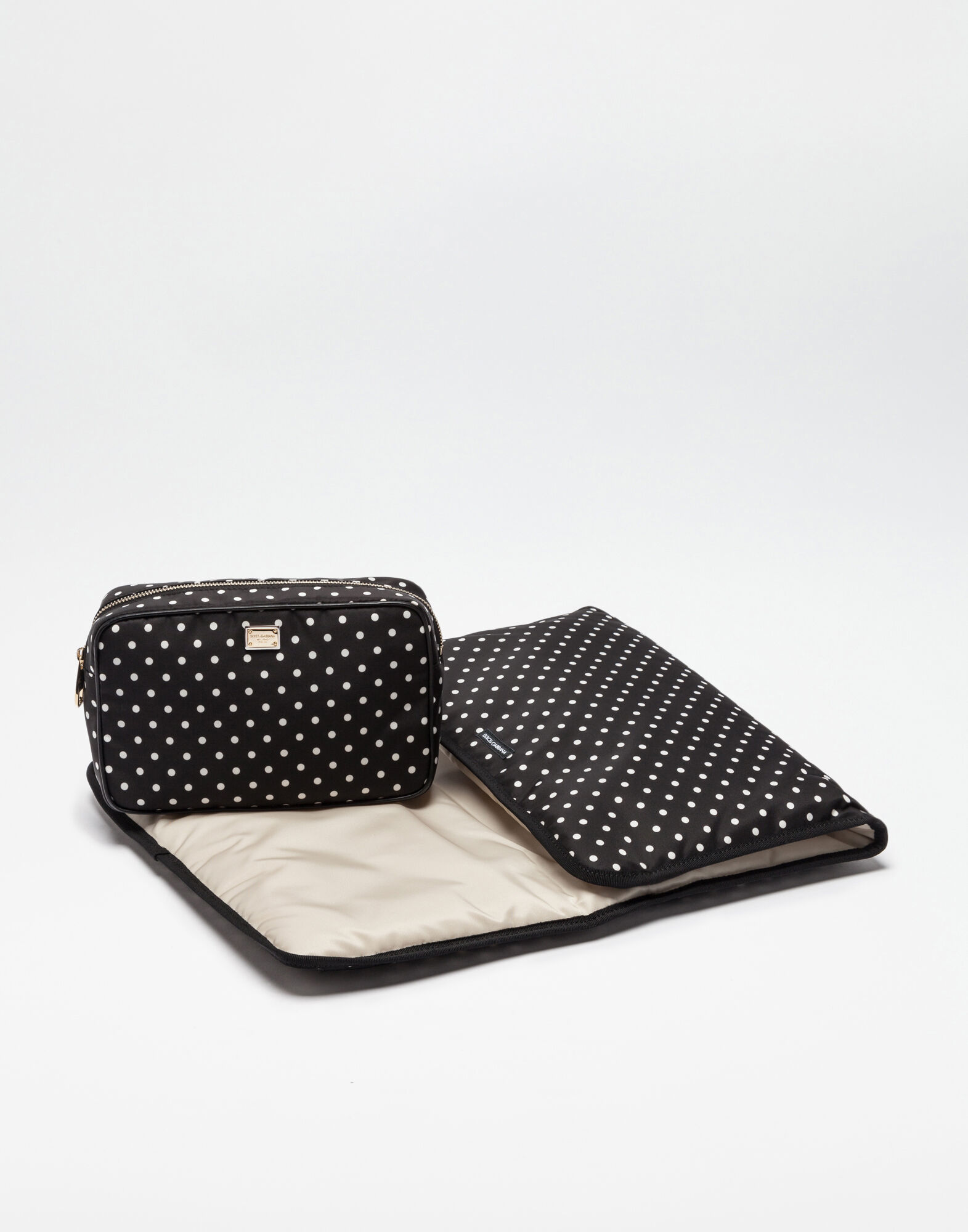 NYLON NAPPY BAG WITH POLKA DOT PRINT