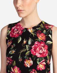 SLEEVELESS ROUND NECK SWEATER IN PRINTED CASHMERE