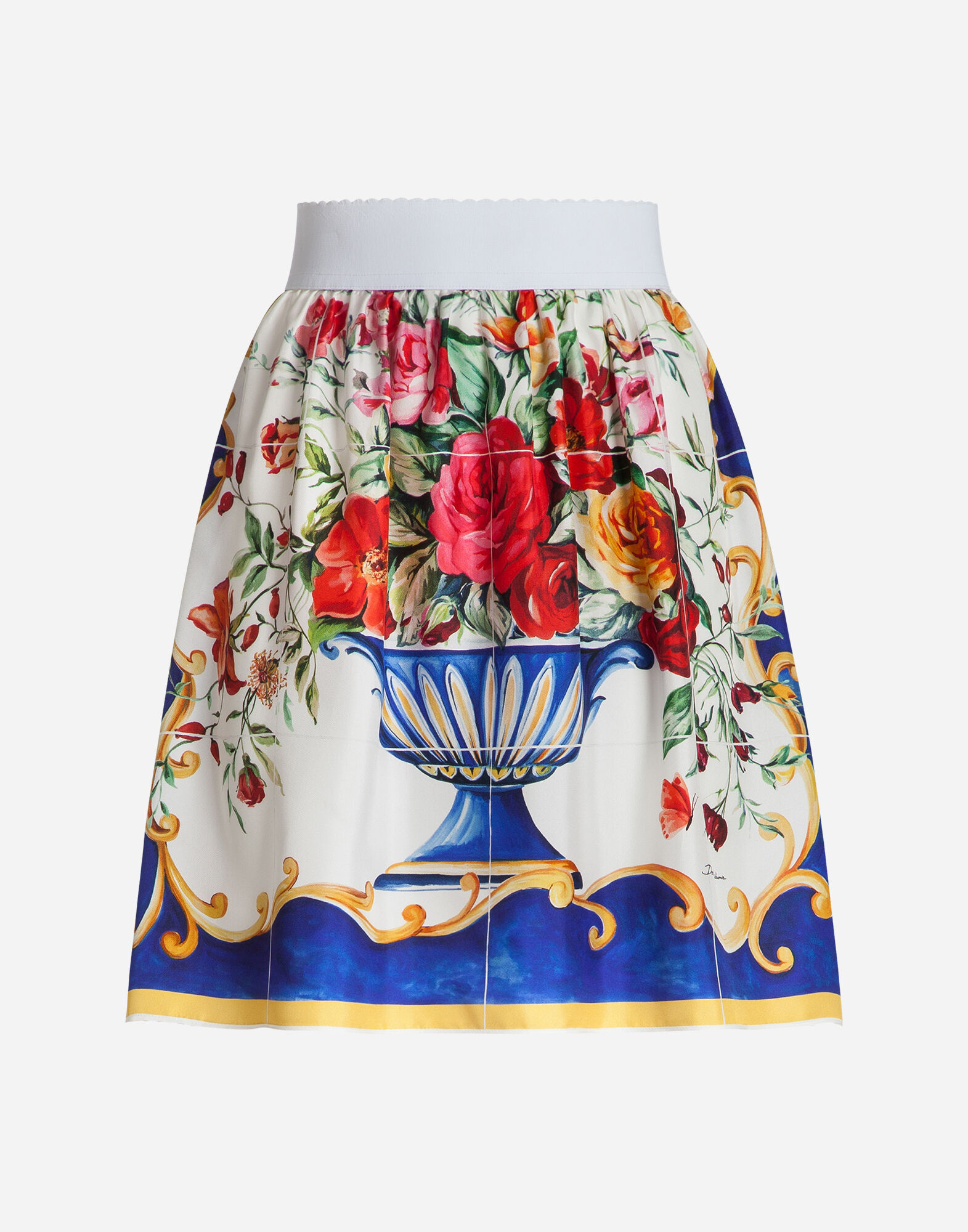 SKIRT IN PRINTED SILK