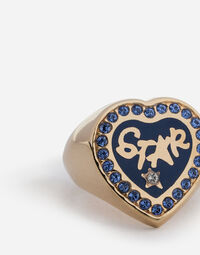 RING WITH STAR LETTERING AND CRYSTALS