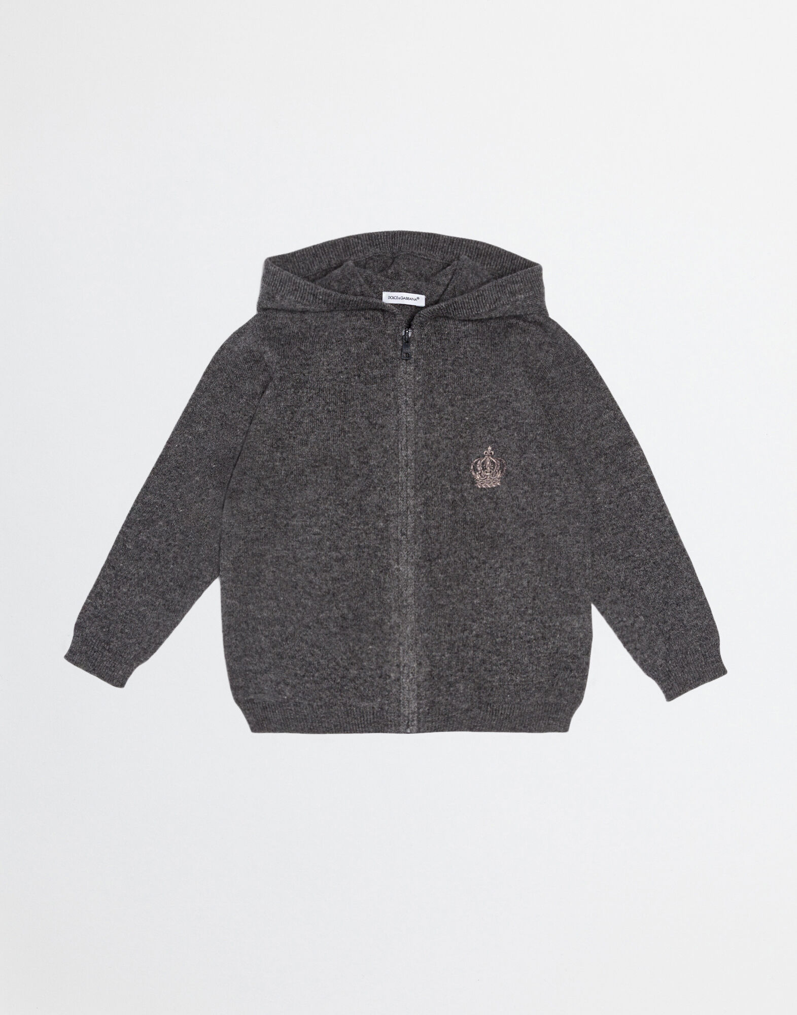 CASHMERE HOODED CARDIGAN WITH EMBROIDERY