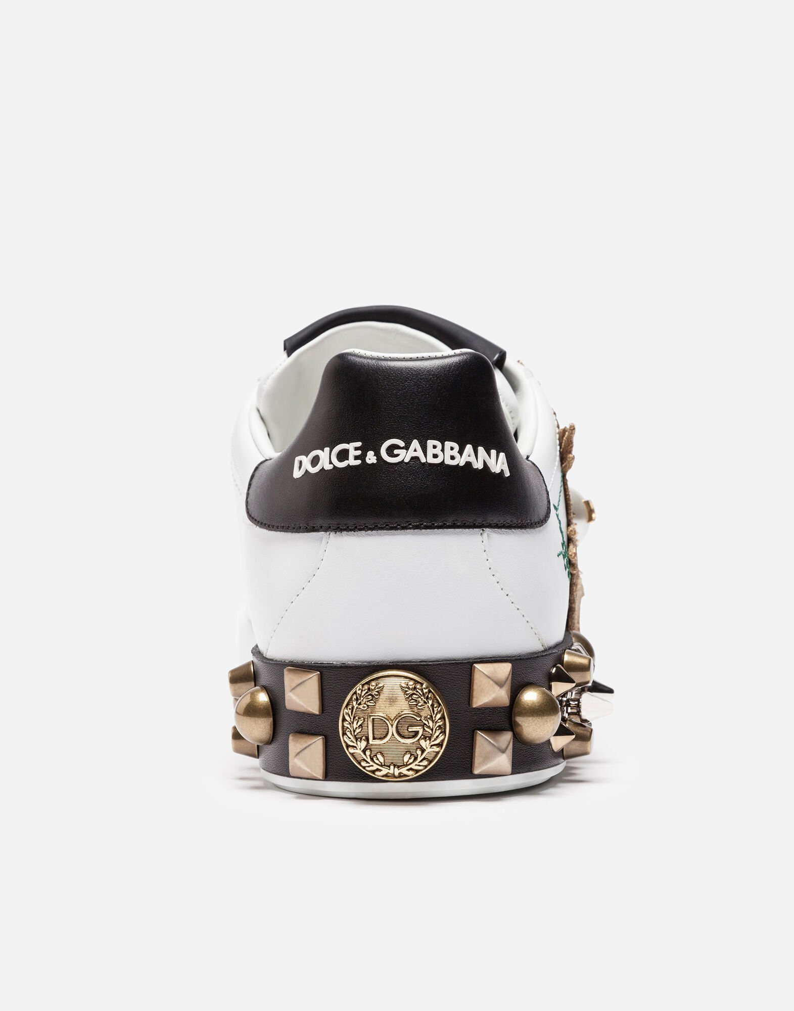 Dolce&Gabbana LEATHER SNEAKERS WITH APPLIQUÉ
