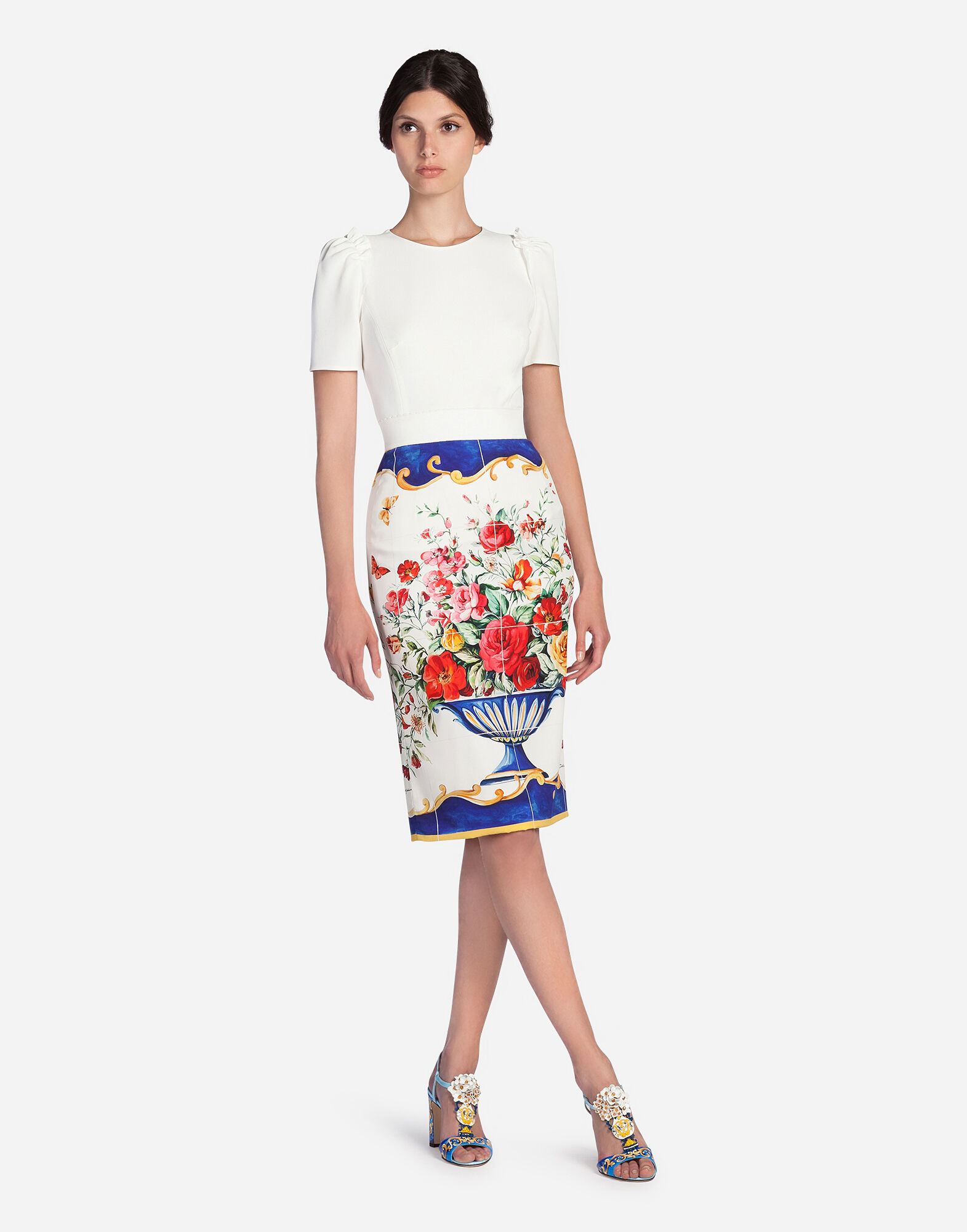 PENCIL SKIRT IN PRINTED SILK