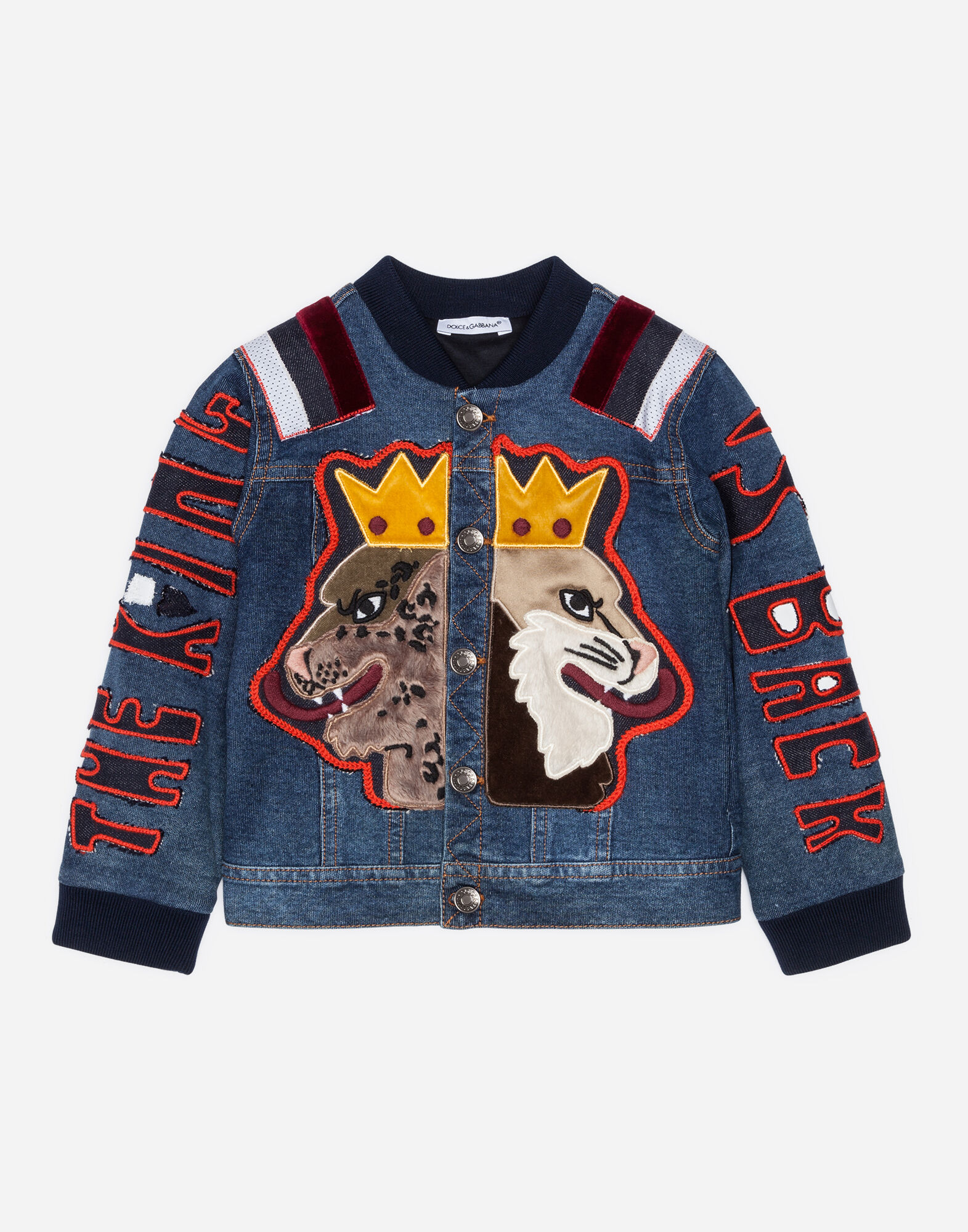 DENIM BOMBER JACKET WITH PATCHES