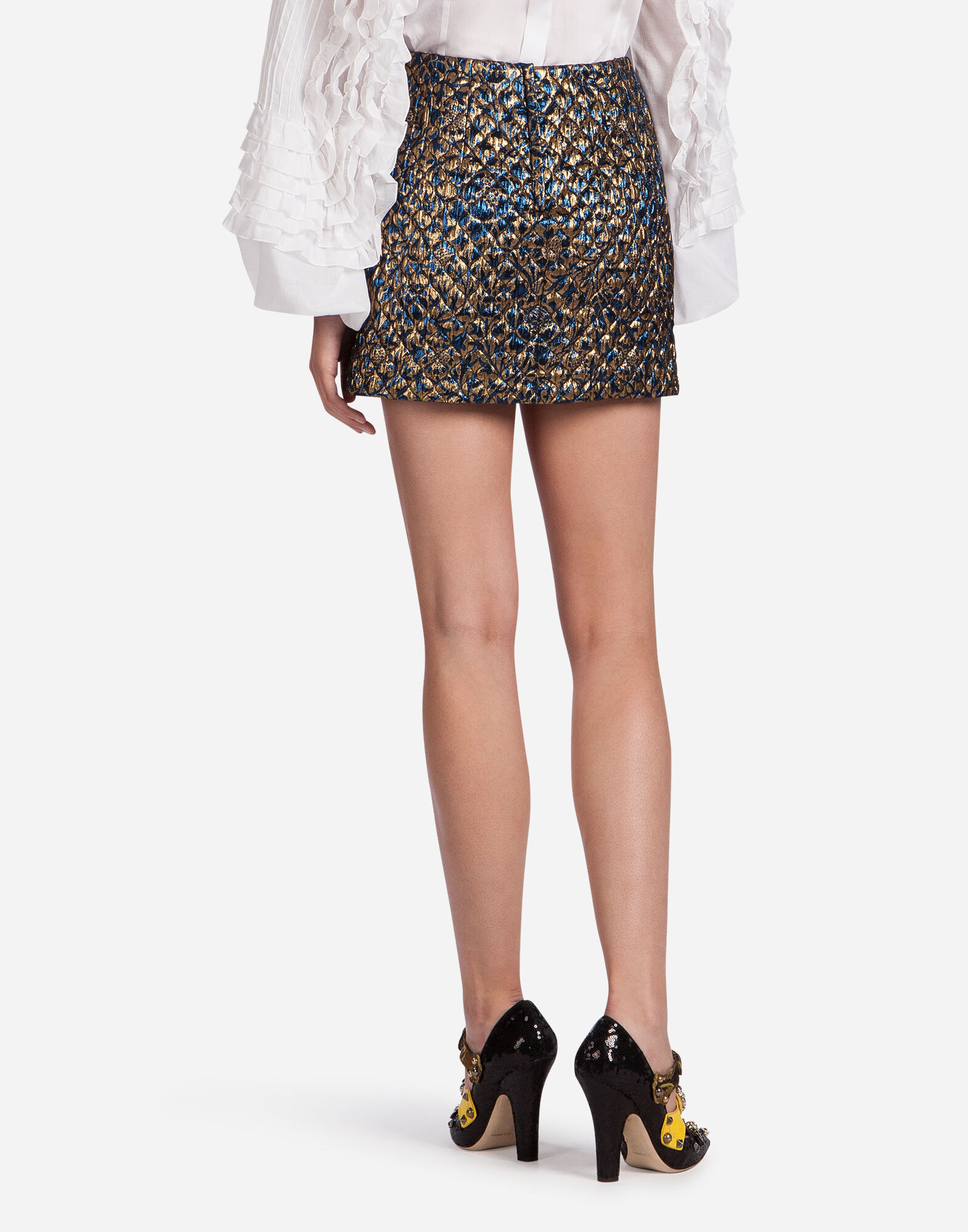 Dolce&Gabbana LUREX JACQUARD SKIRT WITH JEWEL BUCKLES