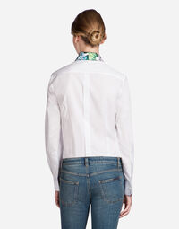 SHIRT IN COTTON WITH SILK COLLAR