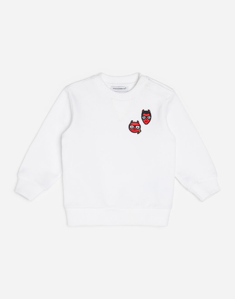 COTTON SWEATSHIRT WITH DESIGNERS' PATCHES