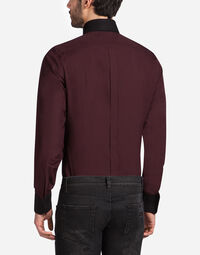 Dolce&Gabbana GOLD FIT SHIRT WITH CONTRAST COLLAR AND PATCH