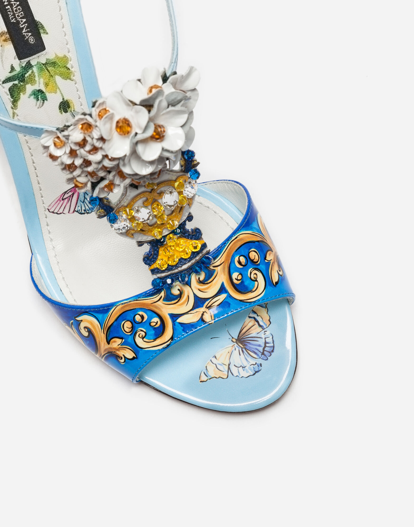 Dolce&Gabbana LEATHER SANDAL WITH BEJEWELED EMBROIDERY