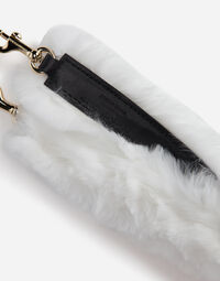 RABBIT FUR AND LEATHER STRAP