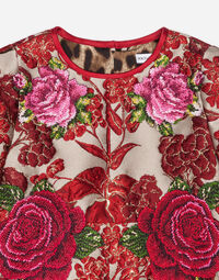 FLORAL JACQUARD DRESS WITH EMBROIDERY