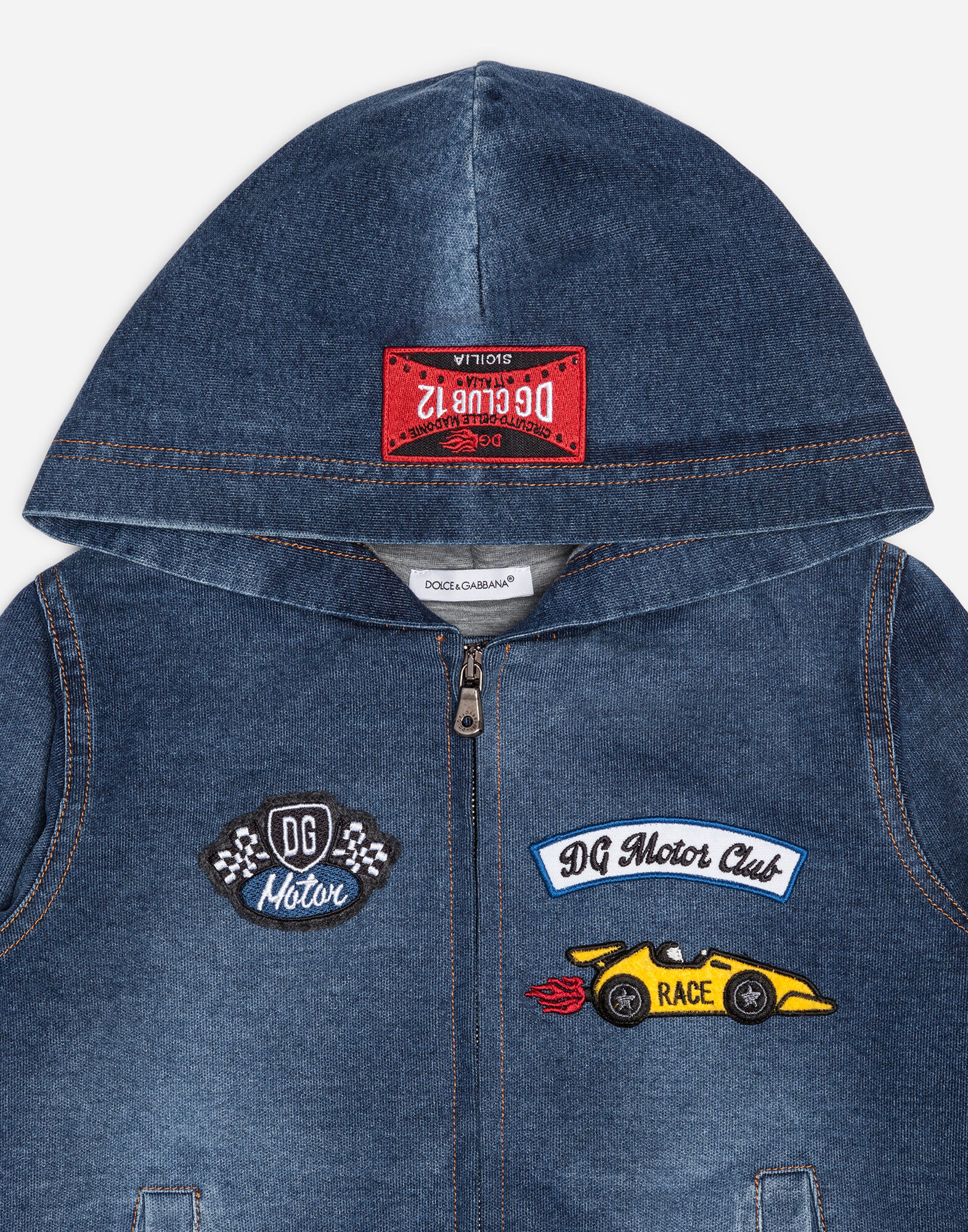 Dolce&Gabbana SWEATER IN STRETCH DENIM WITH PATCHES