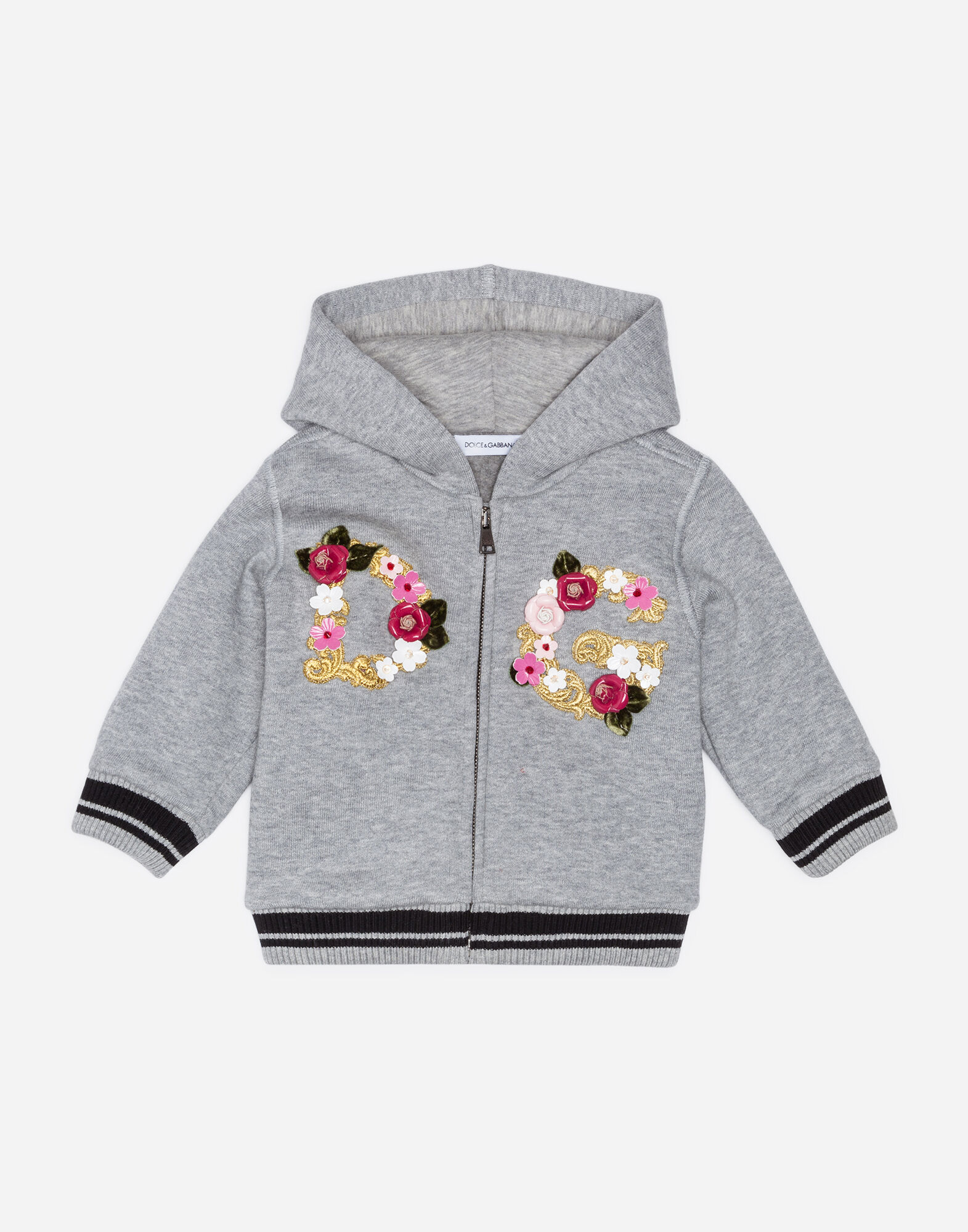 COTTON SWEATSHIRT WITH PATCHES AND APPLIQUÉS