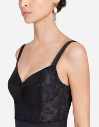 BODYCON DRESS WITH STRETCH LACE APPLIQUE