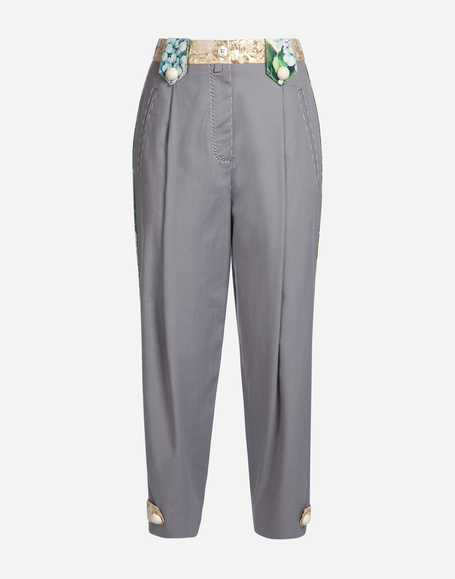 COTTON PANTS WITH BROCADE DETAIL