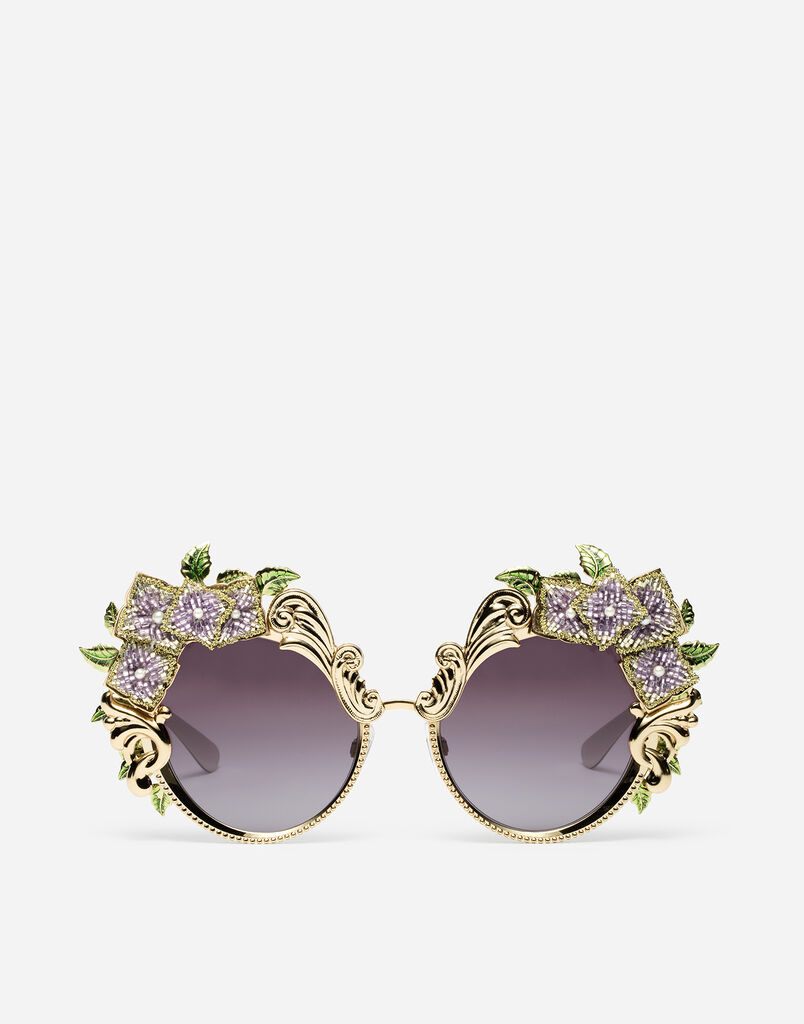 METAL SUNGLASSES WITH HYDRANGEA EMBELLISHMENT
