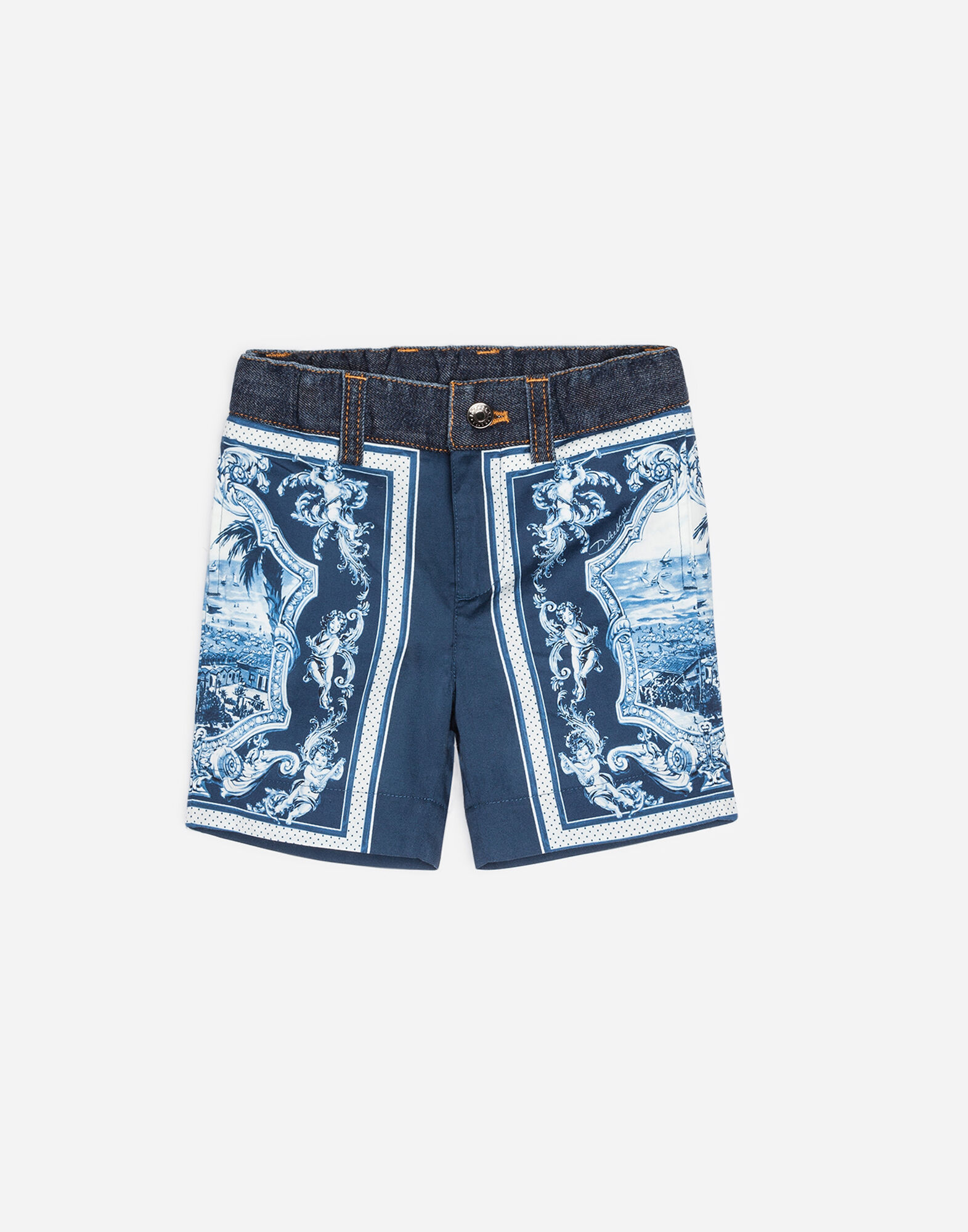 PRINTED COTTON AND DENIM SHORTS