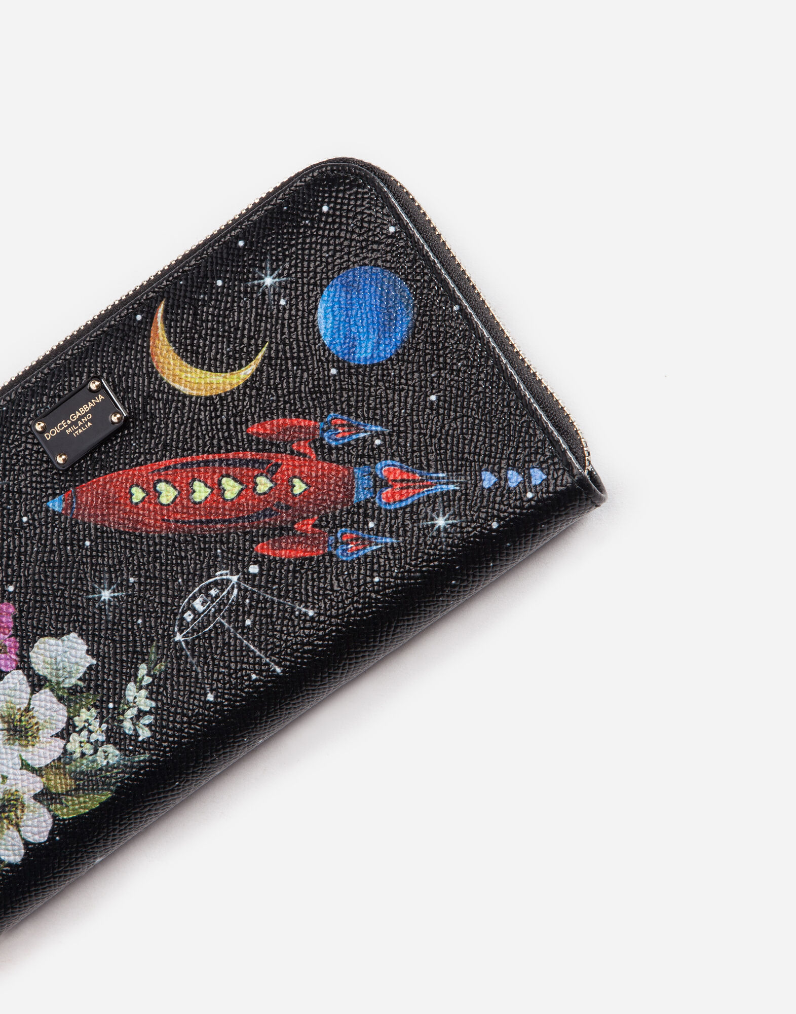 ZIP-AROUND PRINTED LEATHER WALLET