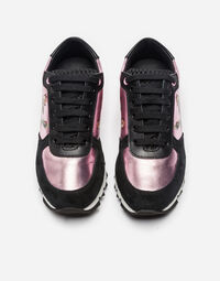 LAMINATED LEATHER AND SUEDE SNEAKERS