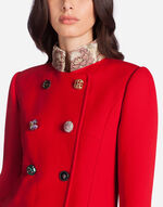 DOUBLE-BREASTED WOOL PEACOAT WITH BEJEWELED BUTTONS