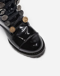 Dolce&Gabbana LEATHER BIKER BOOTS WITH DECORATIVE BUTTONS