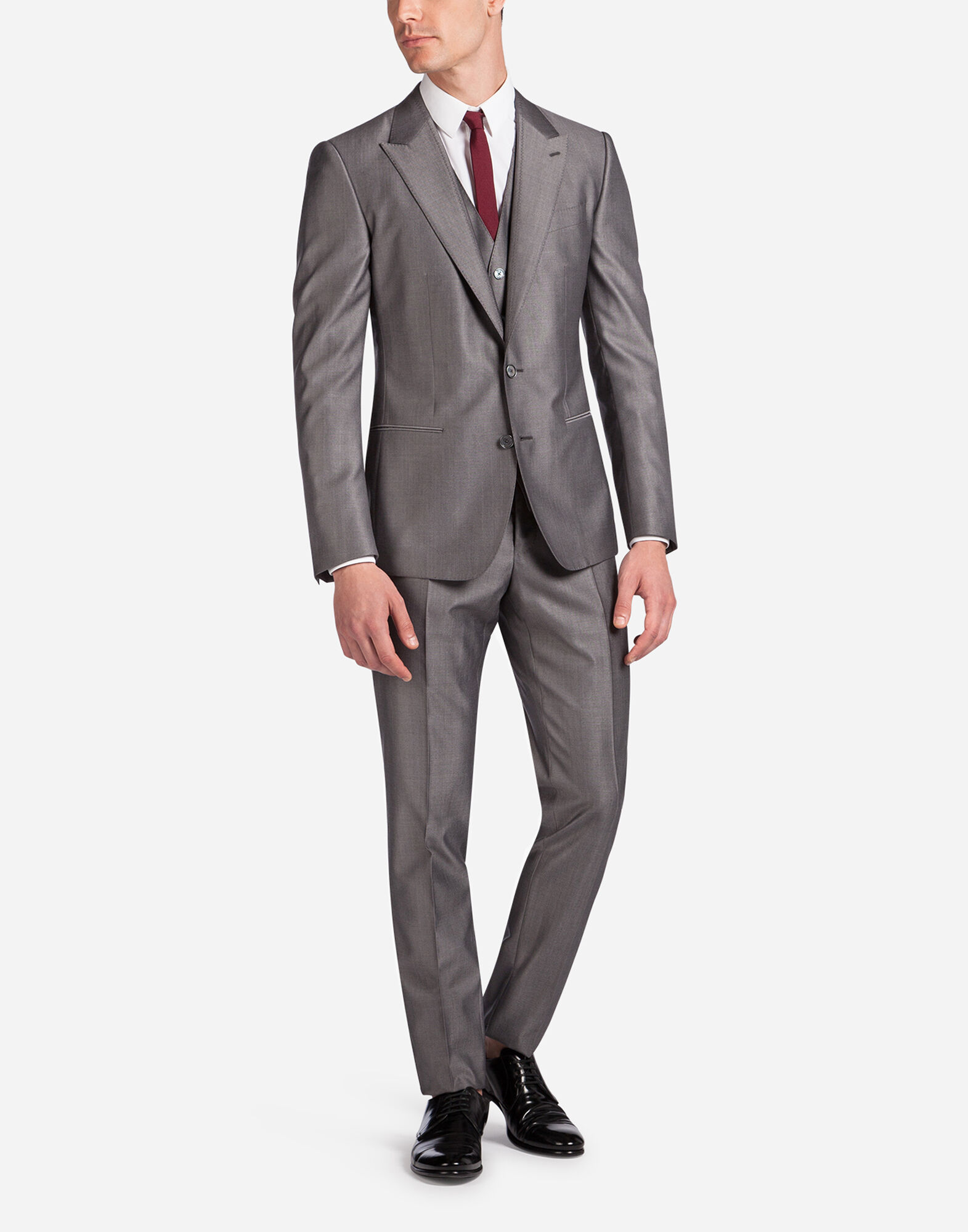 THREE PIECE SINGLE-BREASTED WEDDING SUIT IN WOOL