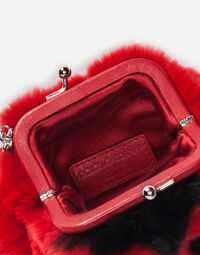 LEATHER AND FUR HANDBAG